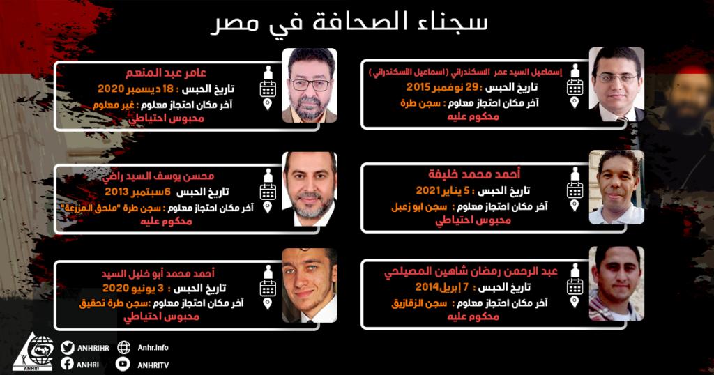 القائمة السادسة و تشمل عدد 6 #صحفيين #محبوسين_احتياطيا