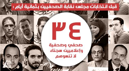 قبل انتخابات مجلس نقابة الصحفيين بثمانية أيام : 34 صحفي وصحفية وإعلاميين سجناء ، لا تنسوهم