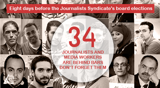 Eight days before the Journalists Syndicate's board elections:  34 journalists and media workers are behind bars, don't forget them